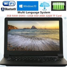 2GB RAM+32GB SSD and 32GB TF 11.6 inch Intel Z3735F Quad Core Laptop Computer Windows 10 J1900 Wifi Webcam Netbook with Free DHL(China)