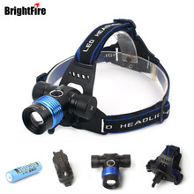 Newest CREE T6 Headlamp Waterproof 5 Color Light 5 Mode Headlight Zoomable Flashlight Bike Light Head Light with Battery