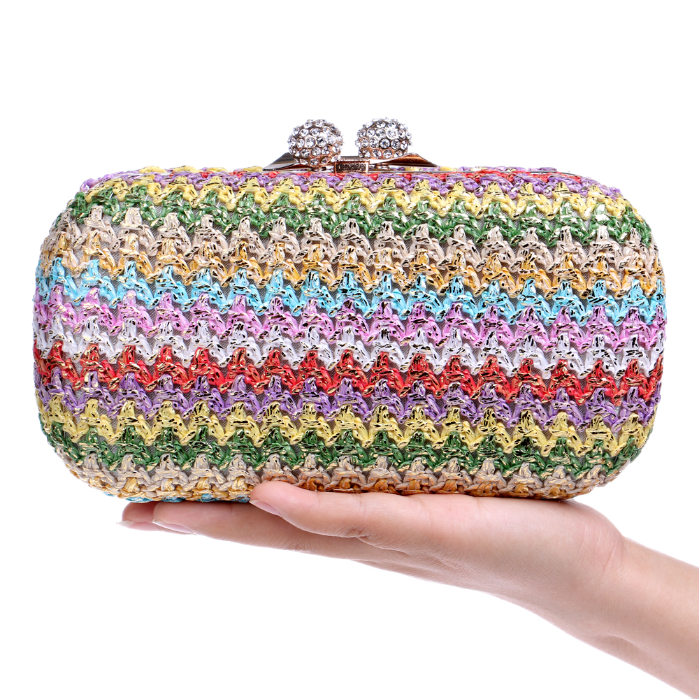 Vintage Knitted Candy Mixed Women Evening Bags Diamonds Metal Day Clutches Purse Handbags Strip Style Small Bags<br><br>Aliexpress