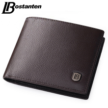 Bostanten Coffee Men Wallets Famous Brand Genuine Leather Male Money Purses New Classic Soild Pattern Designer Soft ID Card Case(China)