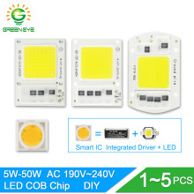 GreenEye DIY 1~5PCS No Need Driver Integrated COB LED Chip 220V 50W 30W 20W 10W 5W Smart IC For Spotlight Flood Light Lamp Bulb