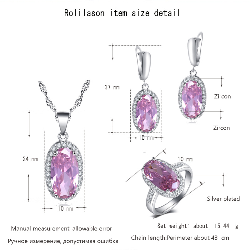 Ayowei Trendy Cute Romantic pink Zircon Oval For Girl Anniversary gift 925 Earring Necklace Ring Jewelry Set JS758A