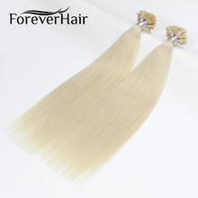 "FOREVER HAIR 0.8g/s 16""18"" 20"" Remy U Tip Human Hair Extension Platinum Blonde #1001 European Pre Bonded Hair Extension 80g/pac(China)"