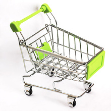 1pc Cute Baby Kid Model Toy Gift Mini Supermarket Handcart Shopping Utility Cart Model Storage Toy Green New FCI#(China)