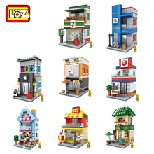 LOZ Blocks Street Shop Building Blocks Cute Store Coffee Auction Bricks Christmas Gift Not Leoge Figures Toys