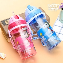 Snoopy bottle Children Kids Baby Cartoon Lovely Eco-friendly With lid Hiking Straw Type Plastic Water bottle(China)