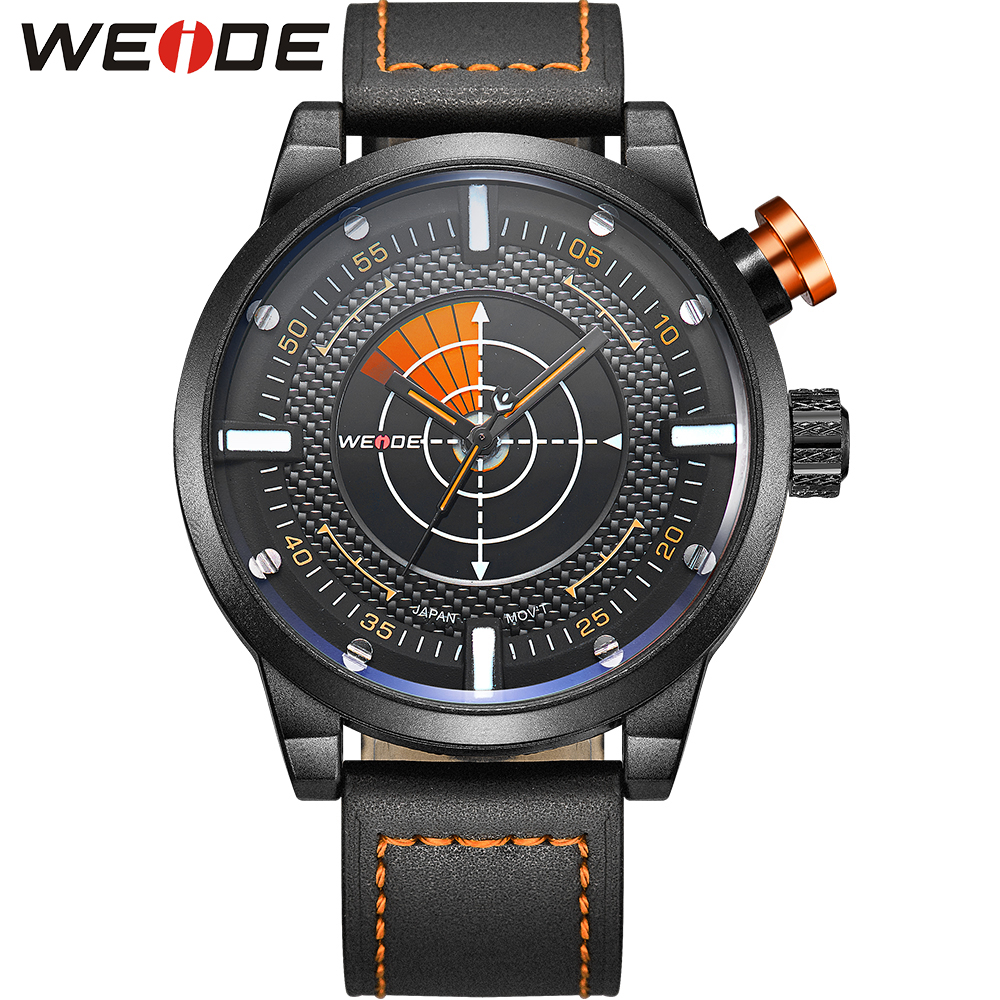WEIDE New Arrivals Radar Watch Men Sports Watches Real Leather Strap Band Big Black Dial 30m Waterproof Wristwatch Gifts For Men<br>