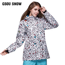 GSOU SNOW Women Ski Jacket Outdoor Sports Snowboard Ski Suit Waterproof Breathable Warm Clothing Leopard Ladies Jacket(China)