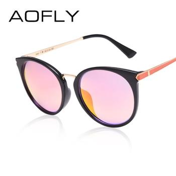 AOFLY Mode lunettes de Soleil 2017 Date Cat Eye lunettes de Soleil Ovale Miroir Lunettes Femmes Célèbre Designer de la Marque En Plein Air Lunettes UV400