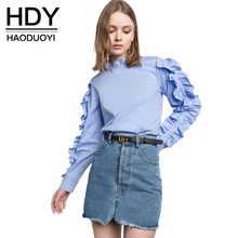 Buy HDY Haoduoyi 2017 New Fashion Blouse Women Casual Ruffles Full Sleeve Solid Blue Tops Preppy Cute Patchwork Female Summer Shirts for $10.29 in AliExpress store