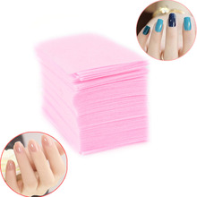 100Pcs Pink Color Nail Polish Remover Cleaner Manicure Wipes Lint Free Cotton Pads Paper Nail Art Tips(China)