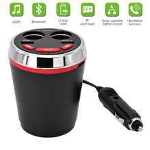Multi-function Car cigarette lighter Dual USB charger bluetooth car kit Music MP3 player handsfree speaker cup car styling(China)