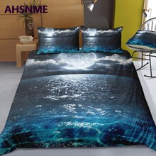 AHSNME Summer Sea Night Scene Quilt cover Set Moon and Sea HD 3D Effect Bedding Set can photo Customized King Bed Set(China)