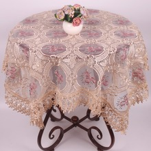 Beige / Wine Red Transparent Organza Fabric Table Covers Floral Embroidered Tablecloth Furniture Electronics Dustproof Cover