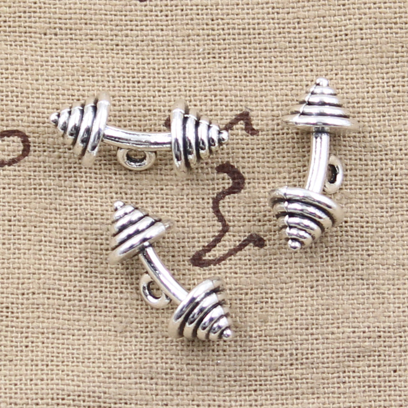 4pcs Charms fitness equipment dumbbell 8*8*23mm Antique Making pendant fit,Vintage Tibetan Silver,DIY bracelet necklace