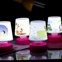 Hot selling mini Cartoon Pat Design LED Changing Table Lamp Night Light Lamps Toy for Kids Bedroom Baby Gift Free Shipping