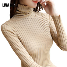 Women Sweater High Elastic Solid Turtleneck Fall Winter Fashion Sweater Women Slim Sexy Hight Bottoming Knitted Pullovers B99(China)