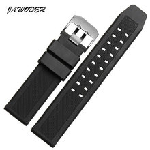 JAWODER Watchbands Soft Rubber Men Black 23mm Sport Diving Watch band Strap Silver Black Metal Buckle For Luminox Accessories