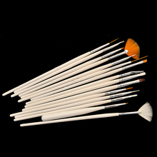 Designed 15pcs White Handle Nail Art Decorations Gel Design Painting Pen Polish Brushes Set Tool Kit   5GW1