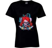 Kawaii Female Casual T Shirts Women Tops Tees Redhead Zombie Girl Graphic Tee T-shirt
