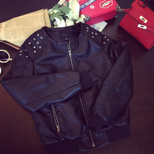 HLMFS2017 Women's punk RIVETS STUDDED Motorcycle PU Leather Spike Jacket autumn spring european style  outerwear women coats
