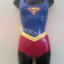 Handsome Latex Pure Rubber Cool Superman Tights Catsuit Swimsuit Size XXS~XXL