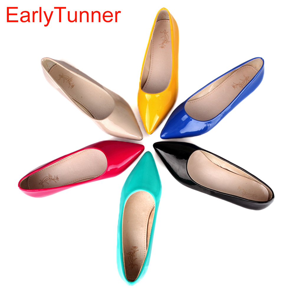 Nude Flats Ladies Shoes Glossy Black Yellow Green Big-Size Women Brand-New Red Blue Patent title=