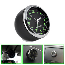 2017 Car Mechanics Quartz Clock Mini Noctilucent digital car clock Pointer clock in car 40mm car styling via free shipping(China)