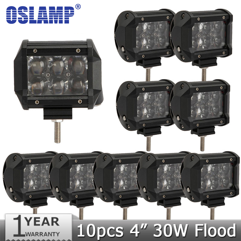 Oslamp 10pcs/lot CREE Chips 30W 4 Flood Offroad Led Light Bar 4D LED Work Light 12V 24V Truck SUV ATV 4WD 4X4 Driving Lamp<br><br>Aliexpress