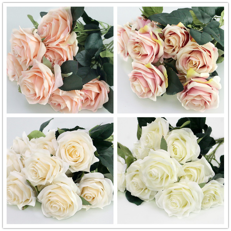 Artificial silk 1 Bunch French Rose Floral Bouquet Fake Flower Arrange Table Daisy Wedding Home Decor Party accessory Flores (12)
