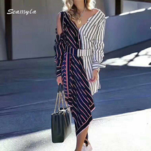 Seamyla New Fashion 2017 Designer Runway Dress Women's Hollow Out Color Block Patchwork Striped Asymmetrical Dress Casual Wear(China)