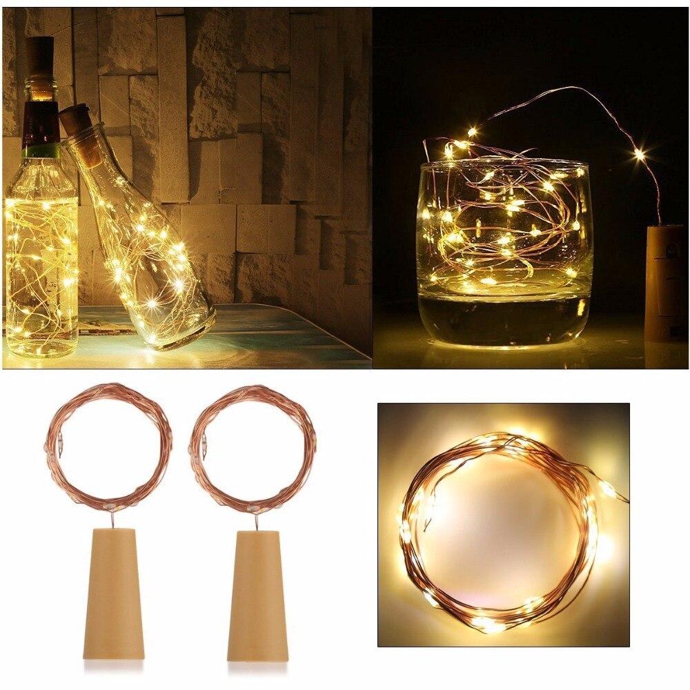New 1Pc/3Pcs/6Pcs 2M 20Led Wine Bottle Cork Stopper Light LED Copper Wire Starry String Light Christmas Party Decoration Lamp