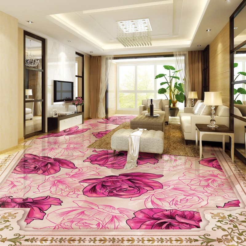 Free Shipping European rose stone relief 3D stereoscopic mural custom wear bedroom floor wallpaper<br>
