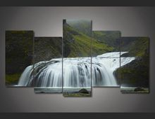 Framed Printed iceland waterfall green Painting on canvas room decoration print poster picture canvas Free shipping/jjv1828