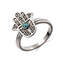 KIVN Fashion Jewelry Filigree Hamsa Womens Girls Antique Vintage Blue Stone Rings Christmas Birthday Mothers Day Gifts