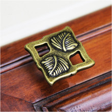 "128mm 224mm Top quality Vintage creative square Leaves wardrobe kitchen cabinet door handles 5"" antique brass drawer knobs pulls(China)"