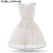 Cielarko Kids Girls Striped Dress Children Fancy Party Summer Rainbow Dresses Baby Girl Costume Princess Frock for 2-6 Years