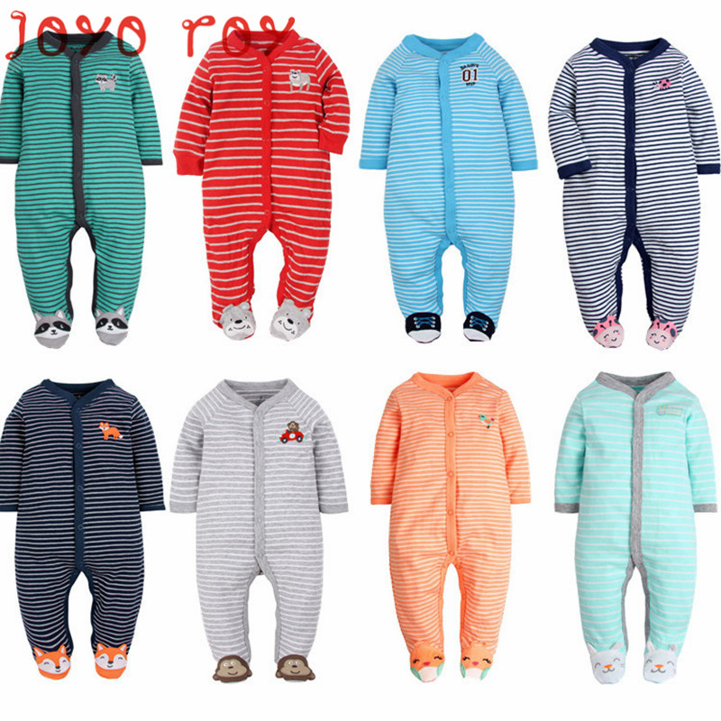 Joyo roy 2018 Newborn Baby Spring Autumn Cotton Rompers Kids Full Sleeve Foot-Muff Clothes Infant Jumpsuits&Pajamas djxx26R(China)