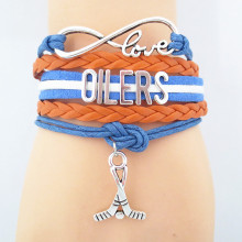 Infinity Love Oilers Hockey Sports Team Bracelet blue orange wristband Customize friendship Bracelets B09364