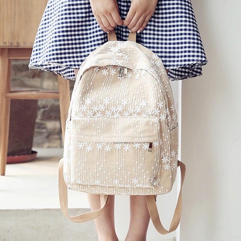 2017 School Bags For Teenagers Korean Style Lace Backpacks For Girl Elegant Schoolbag Mochila Feminina For Traveling Youth Zaino<br>