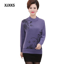 Knitted Pullover Sweater Half Turtleneck Spring Fall New Middle Age Mother Printed Knitwear Good quality Women Jumper 008