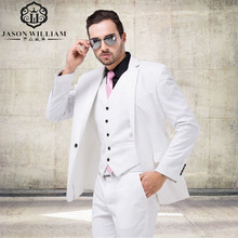LN008 Italian Luxury Mens White Suit Jacket Pants Formal Dress Men Suit Set men wedding suit groom tuxedos(jacket+pants+vest)(China)