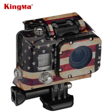 KingMa Gopro Case Sticker TMC American Flag Case Sticker For Gopro Hero 3 Go Pro Water Camera Housing Christmas Gift(China)