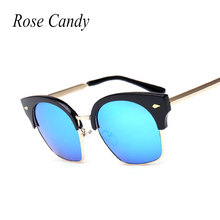 Rose Candy New Fashion 2016 Good Quality Half rims Cat Eye Mirror Brand Designer Mirror Sunglasses Women Sun glasses Lady Large