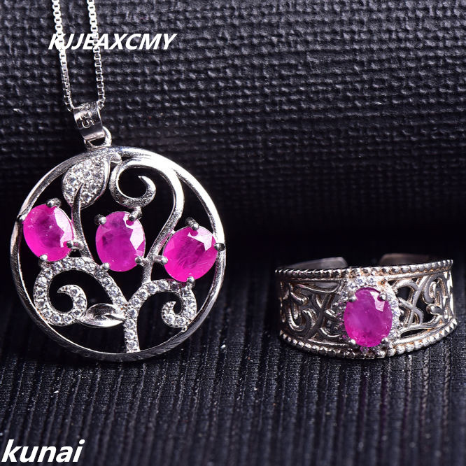 KJJEAXCMY Fine jewelry, 925 silver set of natural ruby set, simple and generous, wholesale female models