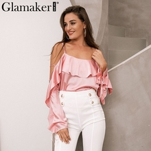Buy Glamaker Lace ruffle women blouse shirt Sexy backless halter Women casual loose blouse shirt Elegant satin shirts tops tees