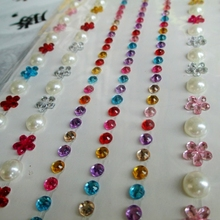 12 Sheets Colorful Flower Crystal Pearl Strip Border Stickers Gems for Wedding Cards Paper Crafts Supplies Car Phone Home Decor
