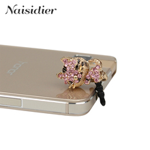 Crystal Cat 3.5mm Phone Accessories anti dust phone earphone headset headphone ear audio hole jack plug cap for iPhone Samsung