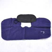 3 in 1 Travel Sets Comfortable Business Plane Trip Inflatable Neck Air Cushion Pillow + Eye Mask + 2 Ear Plug(China)
