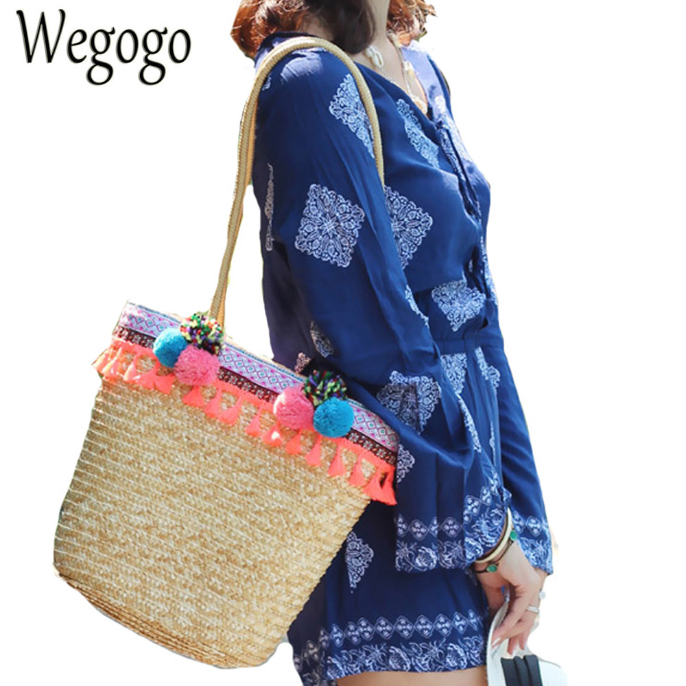 Vintage Women Handbag Colorful Pompon Straw Bucket Bag Tassel  Summer Woven Straw Beach Bag Handmade Bamboo Knitting Rattan Bag<br>